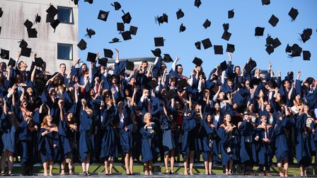 The mortar boards fly at UEA graduation ceremony in2016.