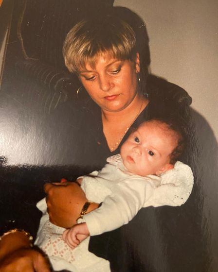 Molly Douglas as a baby with her mum Amanda