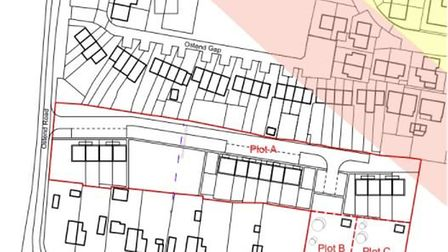 A plan of the site in Walcott proposed for new homes. The pink area is an 'indicative coastal erosio