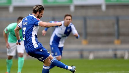 Bristol Rovers' Luke Leahy scores his side's fifth goal of the game from the penalty spot during the