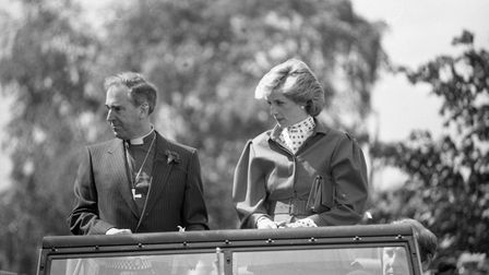 Diana, the princess of Wales was in an open topped vehicle at the Suffolk show in 1986