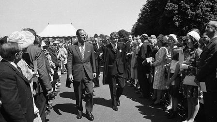 Prince Phillip arrived at Ipswich school greeted by the pupils, parents and staff in the summer of 1973