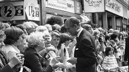 Prince Philip greeting some Lowestoft residents on their visit