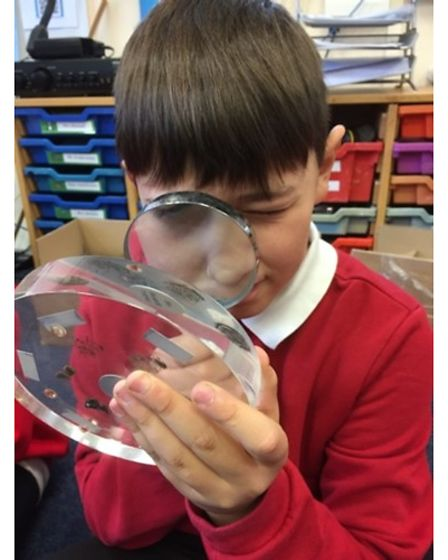 An Exeter Road Primary School pupil getting up close with science