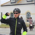 Richard Plume finishing his ride from John O'Groats to Lands End.