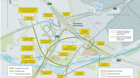 Plans showing how a major revamp of the Thickthorn Interchange could look