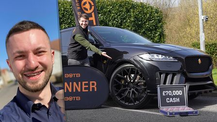 Robert Kwiatkowski, pictured on the right has won a brand newJaguar Lister Stealth and £70,000