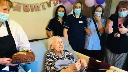 Evelyn Amos celebrated her 101st birthday in style with the help of the Hadleigh Nursing Home staff.