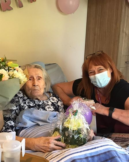 Evelyn Amoswith Hadleigh Nursing Home manager, Jan Seal