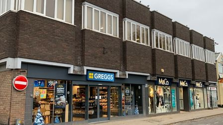 Mere Street, Diss with a Greggs bakery
