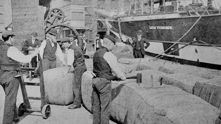 Thriving trade in the London Docks... but became old technology by the late 20th century