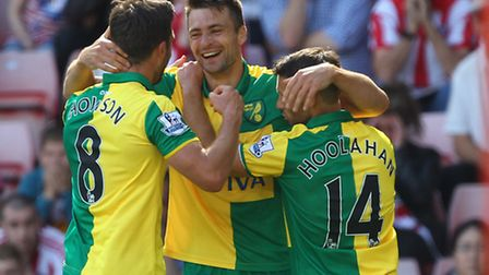 Russell Martin of Norwich celebrates scoring his sides first goal during the Barclays Premier League