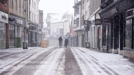 A snow blizzard sweeps Ipswich town centre as Beast from the East #2 empties East Angia's high stree