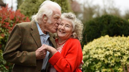 Dorothy Dickinson, 87, and her fiancé Peter Bane, 88, of Stalham, who got engaged when Peter put to
