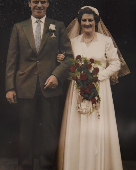 Peter Bane in his wedding picture with his wife Dulcie in 1958. Picture: Dorothy Dickinson and Peter