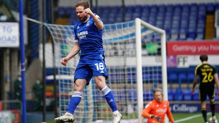 Alan Judge celebrates after scoring Towns second goal to take them 2-0 up against Bristol Rovers.