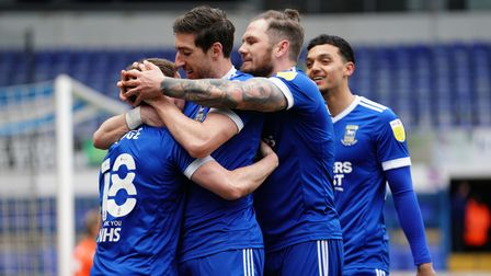 Alan Judge is congratulated by Stephen Ward, James Norwood and Andre Dozzell, after scoring TownÕs s