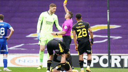 Ipswich keeper Tomas Holy picks up a first half yellow card.