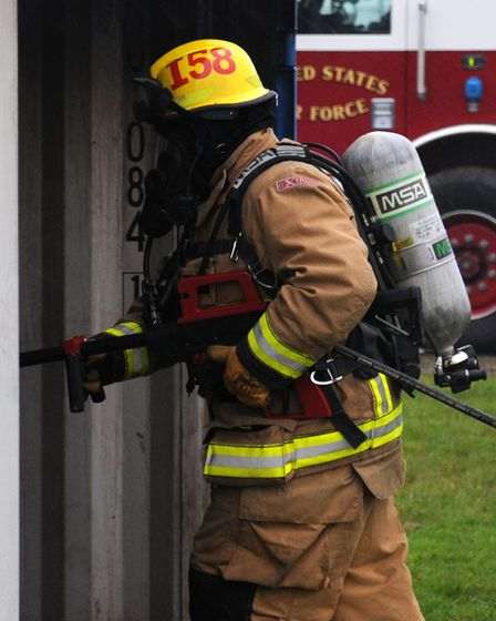 David Ives, 100th Civil Engineer Squadron Fire Department firefighter from March, Cambridgeshire, us