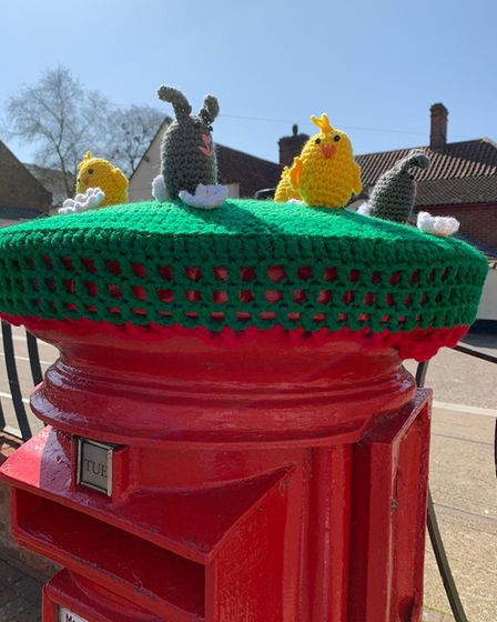 The mystery crochet appeared in Old Post Office Square, Leiston