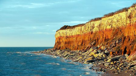 Hunstanton Cliffs where two people were trapped by the tide.