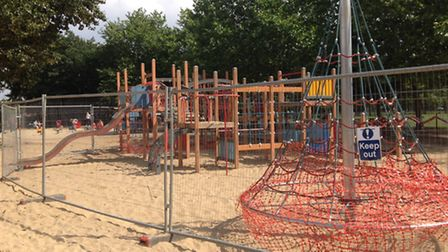 Part of the play area at Norwich's Eaton Park has been fenced off. Pic: Submitted.