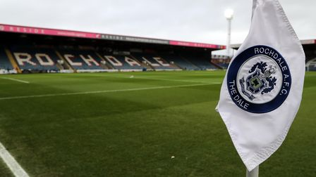 A general view of the Crown Oil Arena ahead of the FA Cup third round match between Rochdale AFC and