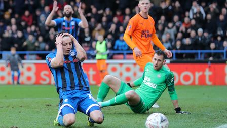 Rochdale's Oliver Rathbone reacts to a missed chance during the FA Cup third round match at The Crow