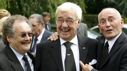 (left to right) Bobby Ball, Frank Carson and Tommy Cannon arrive for the funeral of Bernard Manning
