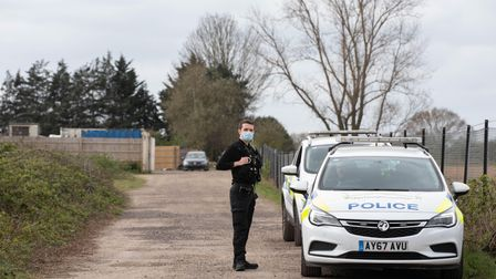 A heavy police presence remains the the Elms Road area of Red Lodge after a shooting on Sunday 4th A