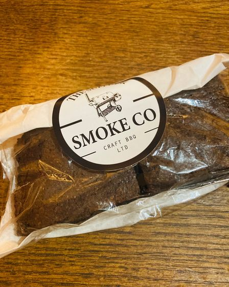 Two chocolate brownies in packaging from The Suffolk Smoke Co