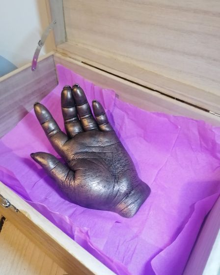 A cast of Estrella Catalan's hand produced by Sarah Cowles, an assistant theatre practitioner at the N&N.
