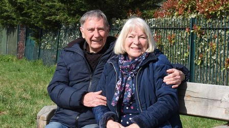 Roy and Sandra Gosling enjoying the peace and quiet in Eastbrookend Country Park on Easter Sunday