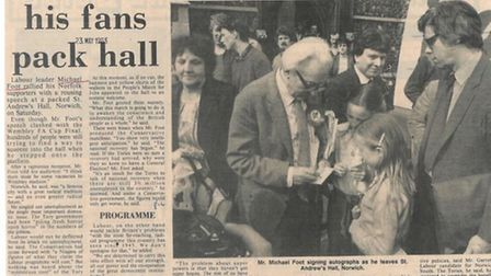 Eastern Daily Press cutting of Michael Foot when he packed out St Andrews Hall in Norwich