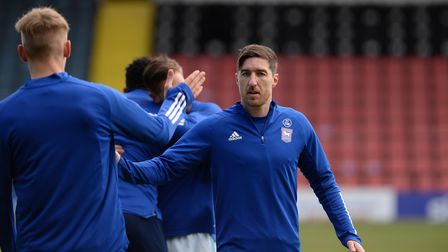 Stephen Ward during the warm-up at Rochdale