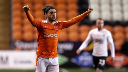 Blackpool's Luke Garbutt celebrates scoring their side's third goal of the game during the Sky Bet L