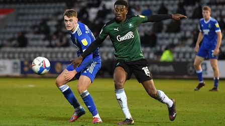 Plymouth Argyle's Tyrese Fornah (right) and Ipswich Town's Jack Lankester battle for the ball during