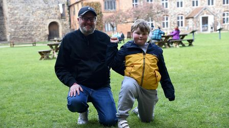 Robert and Lucas Day. People are enjoying the Easter Trail at Framlingham Castle Picture: CHARLOTTE