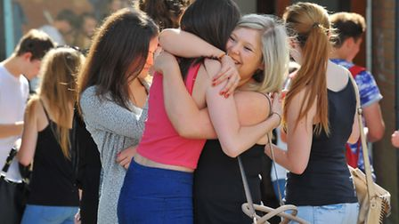 Sixth formers at City of Norwich School collecting their A-level results in 2014. Photo: Steve Adam