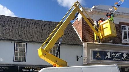 Warren Access provided the platform crane for the bunting to be hung up.