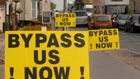 A140 bypass signs by the traffic at Long Stratton. Photo: Denise Bradley Copy: Tom Smithard For: