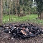 The charred remains of the original bug hotel after it was destroyed by arsonists.