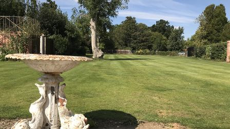 The garden at The Lion in East Bergholt, formerly The Red Lion, which has been newly refurbished. Pi