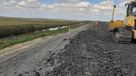 Works to raise the banks of the Ouse Washes