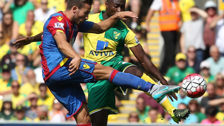 Alex Tettey and Yohan Cabaye Palace in action. Picture by Paul Chesterton/Focus Images Ltd