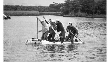Taking part in Thorpeness Raft Race in 1977