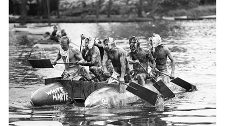 Action from the Thorpeness Raft Race in 1980