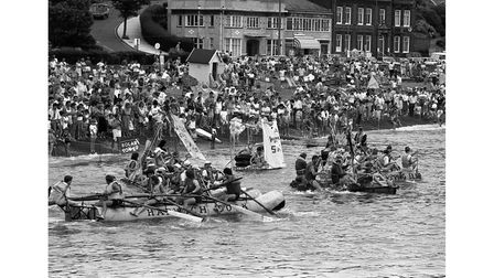 Thousands packed the beach at Felixstowe for the annual Round Table raft race in August 1987