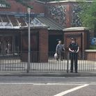 Part of Castle Mall was cordoned off after a man suffered a heart attack and died.