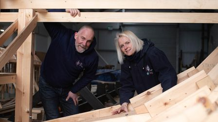 Simon Steel and Jacq Barnard in the Longshed in Woodbridge. Picture: Sarah Lucy Brown